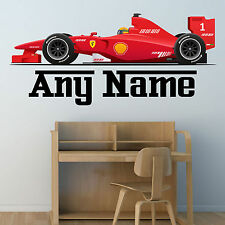 PERSONALISED F1 RACE CAR WALL STICKER BOYS NAME BEDROOM NURSERY DECAL wallpaper