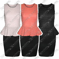 WOMENS LADIES SEQUIN LACE TOP PEPLUM DRESS FRILL CONTRAST SKIRT BODYCON DRESSES