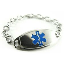 Medical ID Bracelet, Diabetes Insulin Pump Alert - FREE ENGRAVING, Blue i1C-BS2
