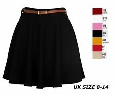 Womens Girls Short Skirt Skater Belted Stretch Waist Plain Flippy Flared Jersey