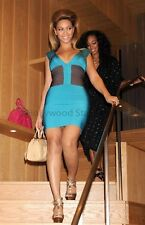 BEYONCE KNOWLES BLUE CAP SLEEVE BANDAGE DRESS S M L BODYCON CELEBRITY CHIC SEXY