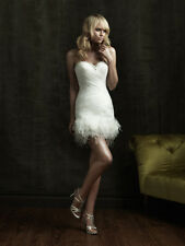 Sexy Feather Short Wedding Dress Cocktail Party Gown Stock size 8 10 12 14 16