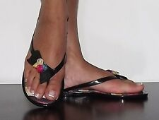 Womens Jelly sandals Black with Bow thong sandals Flip Flop Canvas  Size 5-10