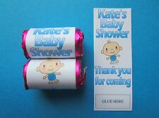60 Personalised Baby Shower Sweets Wrappers ONLY Love Hearts Favours Gift Mini
