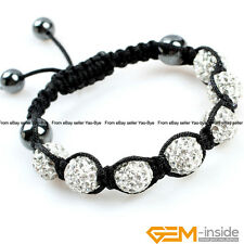 7 Beads 10mm Pave Sparkle Rhinestone Crystal Ball Hand-Woven Bracelet Adjustable