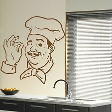 French Cook Chef Hat Cooking Perfection Wall Sticker Mural Kitchen Art Decor R22