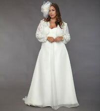 Custom Empire Wedding Dresses White Ivory Bridal Gown Plus Size with Lace Wrap