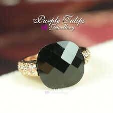 18CT Rose Gold Plated Fashion Black Agade Ring Made With Swarovski Crystals