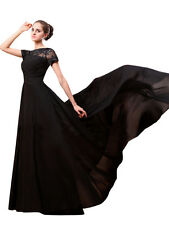 A-line Evening Formal Prom Party Dresses Bateau Neck Short Sleeve Custom Dress