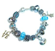 Ladies Girls Charm Bracelet AQUA BLUE SPARKLE Gift Box BIRTHDAY Personalise