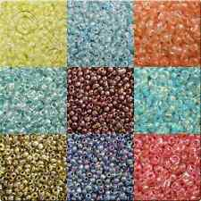 100g Colour Lined Luster Seed Beads - 6 colours and 2 sizes 11&8 to choose from