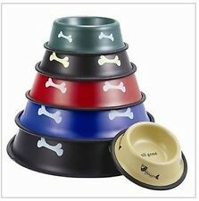 Dog Puppy Cat Stainless Steel Food Dish Bowl Water Fountain Feed Antiskid Bowls