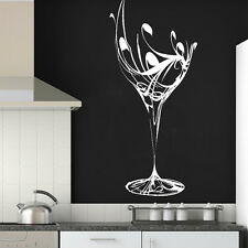 Elegant Wine Glass Wall Sticker / Art Design / Kitchen Decal Transfer Stencil M1