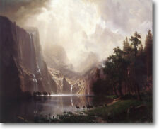 HUGE Bierstadt Among Sierra Nevada Mtns Stretched Canvas Giclee Repro ALL SIZES