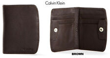 New In Box Calvin Klein Mens Leather Front Pocket Wallet Snap Button Black 79355