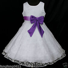 UsaG t Light,Deep Purple White w942 Wedding X'mas Party Flower Girls Dress 2-12y