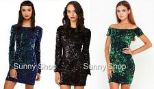 Sexy Charming Ladies V Back Luxury Sequins Sparkle Fitted Bodycon Dress