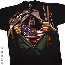 MUSIC IN ME GUITAR AMERICAN FLAG USA ROCK BAND DRUMS SUIT T TEE SHIRT M L XL 2XL