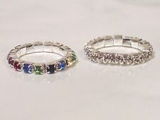 Single Row - Multi-colored or Clear -Stretchy - Crystal / Rhinestone Ring - U63