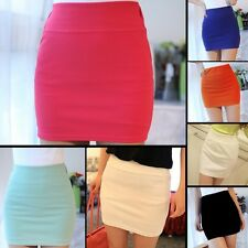 Korea Womens Stretch Polyester Spandex A-line Mini Skirt Fitted Dress Solid 6538
