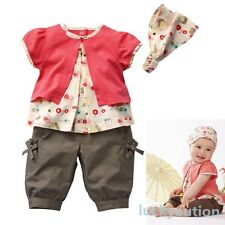 3 Pcs Kids Baby Girls Fruits Pattern Top+Pants+Hat Set Outfits 0-3 Years Clothes