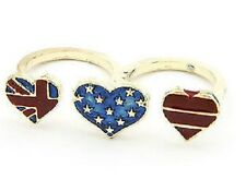 Vintage retro style hearts USA American flag union jack double finger ring