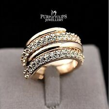 Fashion Stylish Made With SWAROVSKI Crystal Ring W/ 18K Rose Gold Plated