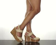 "Womens Strappy 4"" Platform Wedge Tan Beige Canvas Ankle Strap  Bamboo Size 6-10"