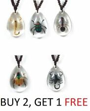 Real Clear Lucite Insect Necklace Scorpion Stink Bug Weevil Big Head Ant