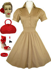 Tan 50s Style PIN TUCK Detailed Bodice PUFF Sleeve PINUP Day Dress w/FULL Skirt