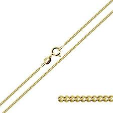 """375 9ct Solid Yellow Gold 14 16 18 20 22 24"""" Inch 1.1mm Curb Link Chain Necklace"""