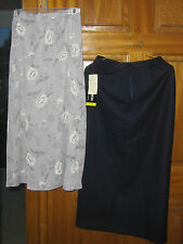 Women's Sag Harbor Skirts ~ Black Wool and Summer Gray Skirt Size 8  Long