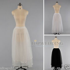 New Hoopless 2 Layers Voile Long Bridal Petticoat Wedding Crinoline Skirt Slip
