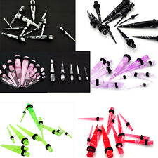 New 12Pcs Acrylic Ear Taper Plug Stretcher Expander Gauge Starter Kit earring