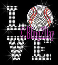 LOVE Baseball - 2 Line - Iron on Rhinestone Transfer Hot Fix Bling Sport Mom-DIY