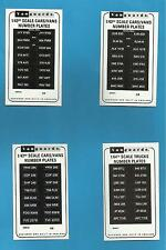 16 x VANGUARDS 1/64TH SCALE NUMBER PLATES - MANY NUMBERS