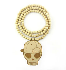"""WOODEN SNAPBACK SKULL PENDANT PIECE & 36"""" CHAIN BEAD NECKLACE GOOD WOOD STYLE"""