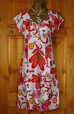 RRP £55 NEW WHITE STUFF RED ORANGE GREEN PURPLE BOLD  FLORAL SUMMER TUNIC DRESS