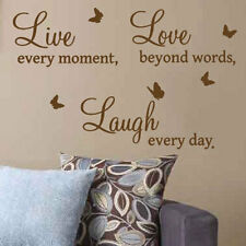 Live Love Laugh Butterfly Art  Wall Quote Stickers, Wall Decal  Words Lettering