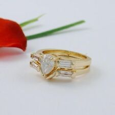 1 CARAT GOLD EP PEAR WEDDING ENGAGEMENT RING SET SIZE 4 5 6 7 8 9 10