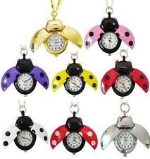 Cute gril students beetles ladybug pendant quartz pocket necklace watch chain