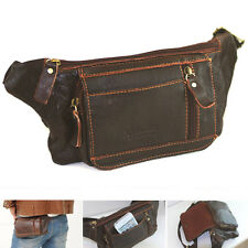 New Cow Leather Vintage Brown Fanny Waist Packs Bag Travel Wallet Purse-8877