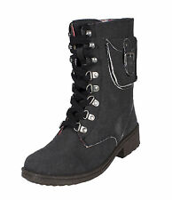 Missile-13!Qupid Mid Calf Lace Up Military Boots Side Pocket Black Washed Canvas