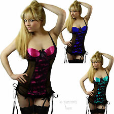 Sexy Lingerie Babydoll Suspenders Lace Underwear FREE STOCKINGS Plus Size 8 - 26