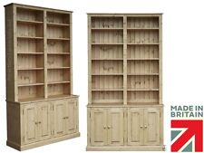 Solid Pine Bookcase, Handcrafted & Waxed 8ft Tall Buffet Hutch, Display Shelves