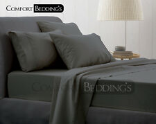 Sale-Complete Bedding Collection 1000TC Egyptian Cotton Gray Solid In All Size
