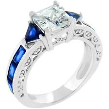 CZ SIMULATED SAPPHIRE PRINCESS CUBIC ZIRCONIA RING SIZE 5 6 7 8 9 10
