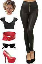 50s Style RIZZO Grease HIGH WAIST Matte Black Vegan Leather ZIPUP PINUP Leggings