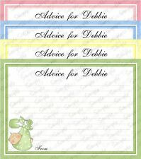BABY SHOWER ADVICE CARDS x12 - Choice of Green, Yellow, Pink, Blue - Pin/Baby