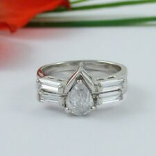 STUNNING 1 CARAT PEAR WEDDING ENGAGEMENT RING SET SIZE  4 5 6 7 8 9 10